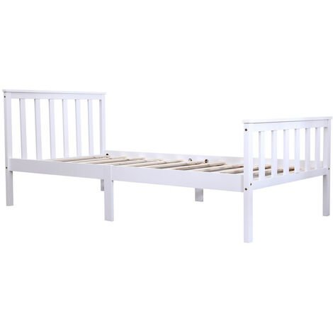 High Head Solid Pine Wood Single Bed Frame Without Mattress - white