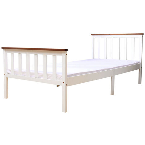 High Head Solid Pine Wood Single Bed Frame Without Mattress - white with oak top