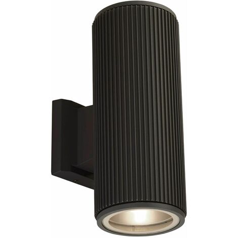 High / low outdoor wall / porch wall light - black with clear glass