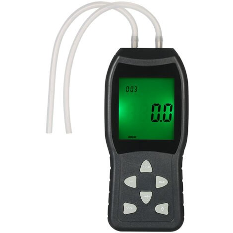 High Precision Hand-held LCD Digital Dual-port Manometer Differential Air Pressure Gauges Tester, Black