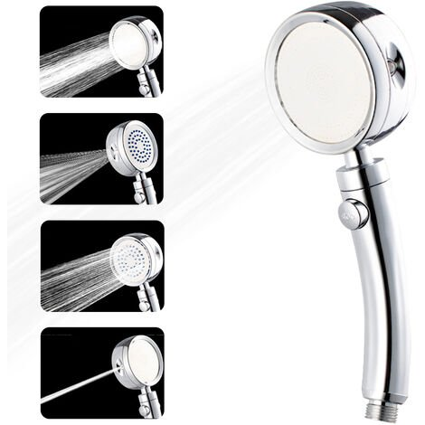 """main image of """"High Pressure Shower Head with 4 Spray Settings ON/Off Pause Switch Water Saving Polished Handheld Showerhead"""""""