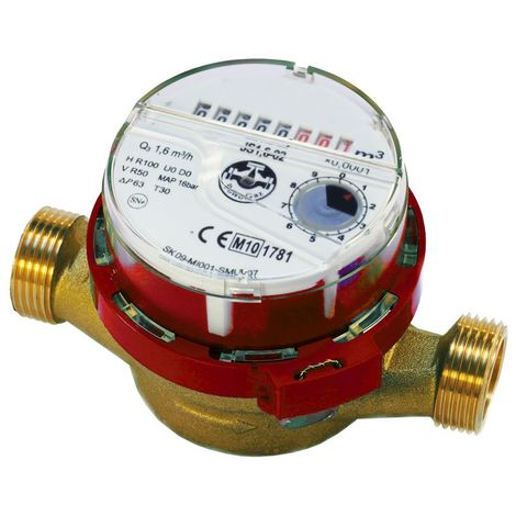 "High Quality Hot Warm Water Flow Meter 1/2"" inch (3/4"") BSP 1,6 m3/h Red Colour"