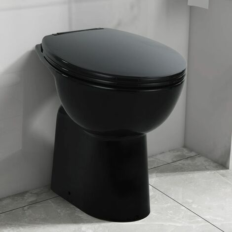 High Rimless Toilet Soft Close 7 cm Higher Ceramic Black - Black