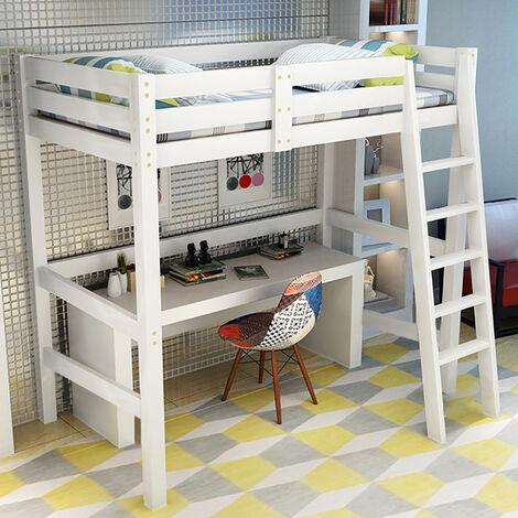 High Sleeper Bunk Bed Loft Cabin Bed Solid Pine Wood Frame Kids Single