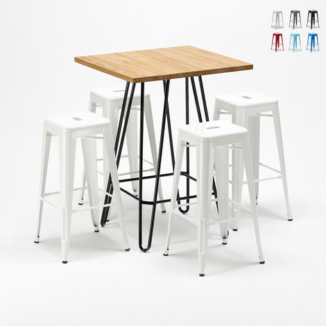 High table and 4 metal stools set Tolix industrial style for Bars and Pubs BROOKLIN