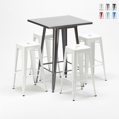 High table and 4 metal stools set Tolix industrial style for Bars and Pubs GOWANUS