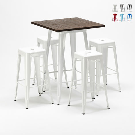 High table and 4 metal stools set Tolix industrial style for Bars and Pubs HERLEM