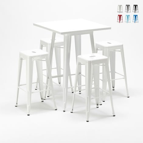 High table and 4 metal stools set Tolix industrial style for Bars and Pubs UNION SQUARE