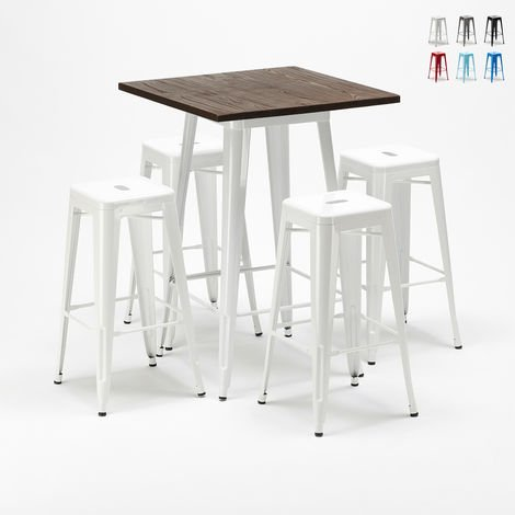 High table set and 4 metal stools Tolix industrial HARLEM style for Bars and Pubs