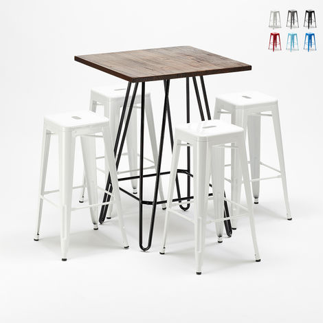 High table set and 4 metal stools Tolix style industrial KIPS BAY for pubs
