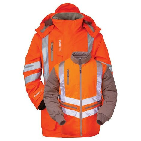High Visibility 7-in-1 Storm Coat with Bodywarmer