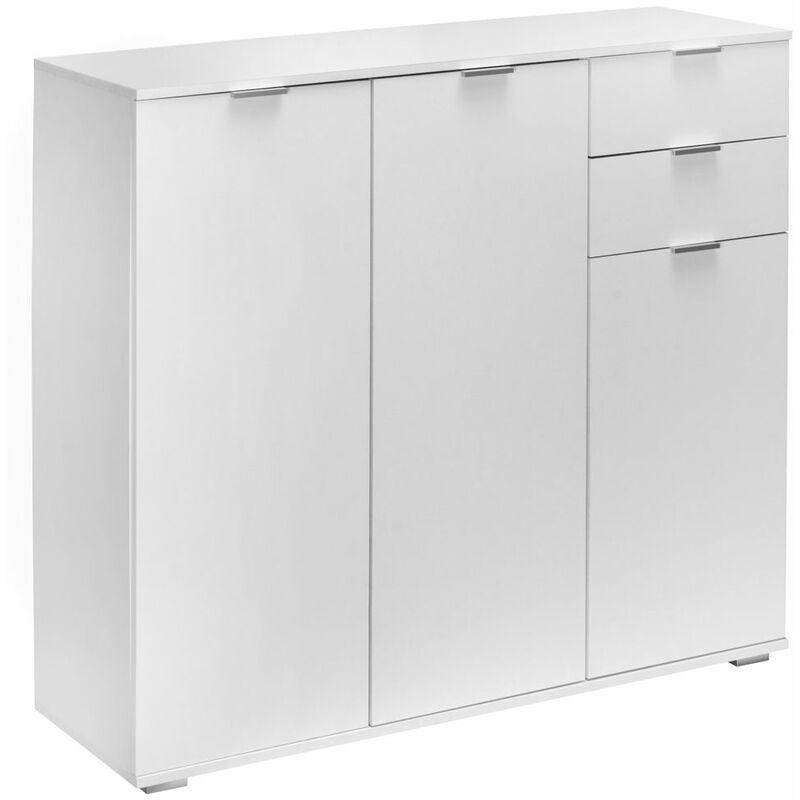 Kommode Sideboard Weiß Highboard Mehrzweckschrank mit Schubladen Modern Flur DB161 - Weiß - DEUBA