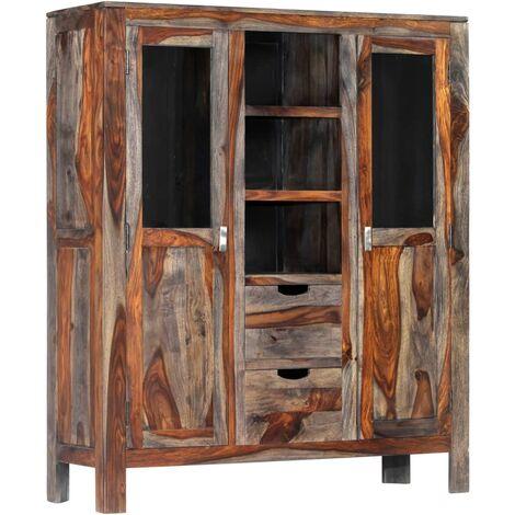 Highboard Grey 118x40x140 cm Solid Sheesham Wood