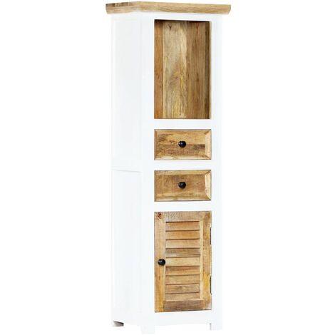Highboard Weiß und Braun 40x30x128 cm Raues Mango-Massivholz
