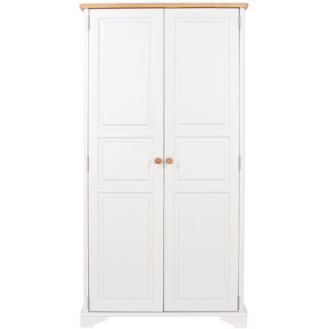 Highland Home AB Assembled Oak Veneer & White Painted 2 Door Wardrobe