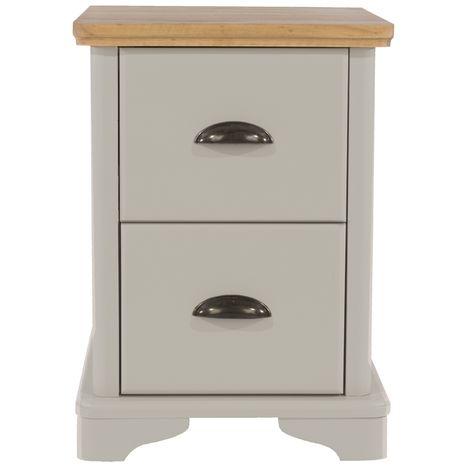 Highland Home BB Assembled Oak Veneer & Grey Painted 2 Drawer Compact Bedside Cabinet