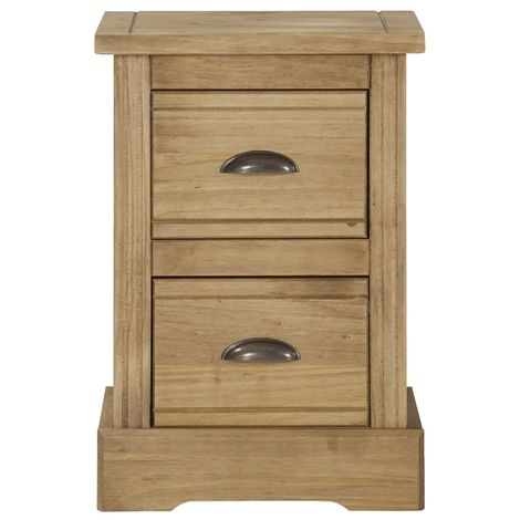 Highland Home FB Assembled Antique Waxed Pine 2 Drawer Compact Bedside Cabinet