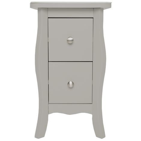 Highland Home JB Assembled Curved Grey Painted 2 Drawer Petite Bedside Cabinet