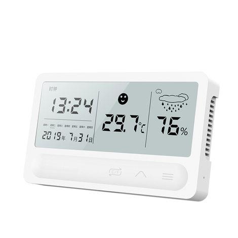 Higrometro de termometro digital LCD, funcion de pronostico del tiempo del reloj