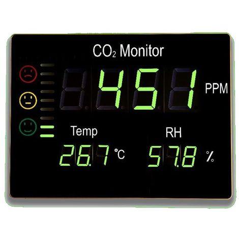Higrometro mural FTK-CHT2008 con pantalla digital: detector CO2, Temperatura y humedad relativa.