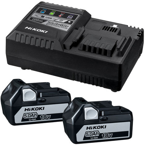 HiKOKI 2 x BSL1850 Li-ion 18V 5.0Ah Slide-on Batteries & Rapid Charger