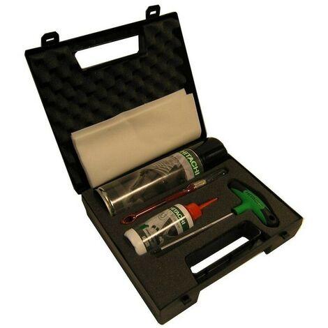 HIKOKI 714800 - Kit de limpieza clavadoras (1 bote spray limpiador + 1 bote aceite + 1 llave allen + cepillo + tela)