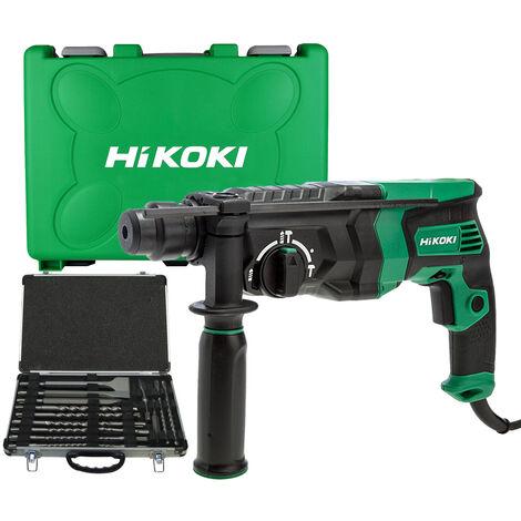HiKOKI DH26PX2 SDS+ Rotary Hammer Drill 240V with 17 Piece Drill Bit Set:240V