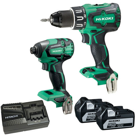 HiKOKI KC18DBFL2JAZ Brushless Twin Kit 18V With 2 x 5.0Ah Batteries Charger:18V
