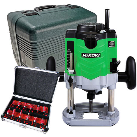 """HiKOKI M12VE 1/2"""" Router Variable Speed 240V with 12 Piece Router Set"""