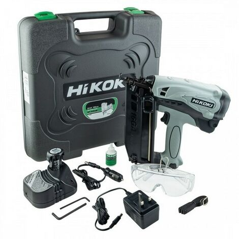 HiKOKI NT65GBJ9Z Angled 2nd Fix Finishing Nail Gun with 2x1.5Ah Li-Ion Batteries