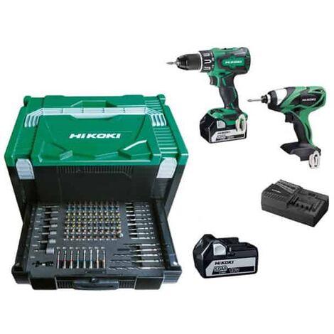 HIKOKI Pack 2 outils 18V 5Ah DV18DBSLWJZ + WH18DSALU4Z + 100 accessoires - KC18DBSL2Z