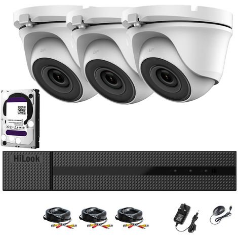 HIKVISION HILOOK 4 CHANNELS 1080P HD-TVI SECURITY CAMERA SYSTEM WITH 3 X 1080P WEATHERPROOF DOME CAMERA, CONVENIENT EMAIL ALERT WITH IMAGES, RECORDING AND PLAYBACK, SUPER NIGH VISION (NO HDD PRE-INSTALLED)