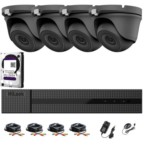 HIKVISION HILOOK 4CH CCTV KIT DVR 1080P & 4X 2.0MP FULL HD 1080P GREY DOME CCTV CAMERAS IR 20M NIGHT VISION REMOTE VIEW EASY P2P SECURITY CAMERA SYSTEM (2TB HDD PRE-INSTALLED)
