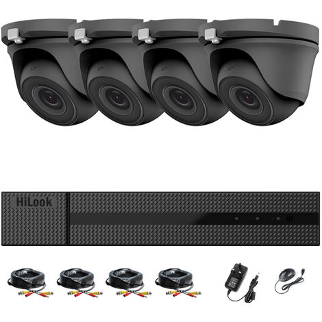 HIKVISION HILOOK 8CH FULL HD CCTV KIT DVR 1080P DVR-204G-F1 & 4 X 2.0MP FULL HD 1080P GREY DOME CAMERAS 20M NIGHT VISION REMOTE VIEW EASY P2P SECURITY CAMERA SYSTEM- different size HDD available