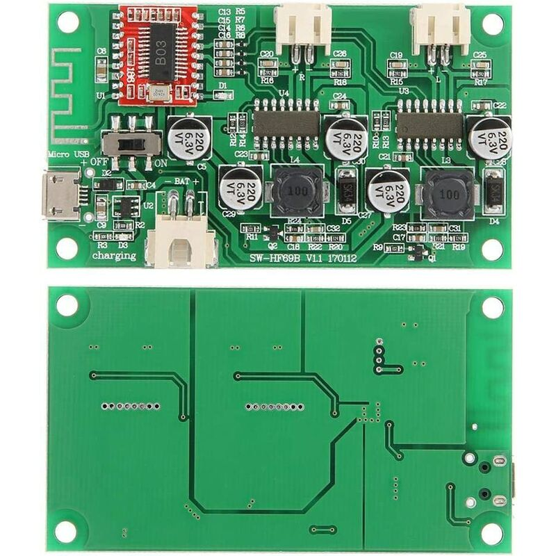 Hilitand 2x6W Dual Channel Bluetooth Power Amplifier Board DC 5V / 3.7V Lithium Battery with HF6 Charge Management