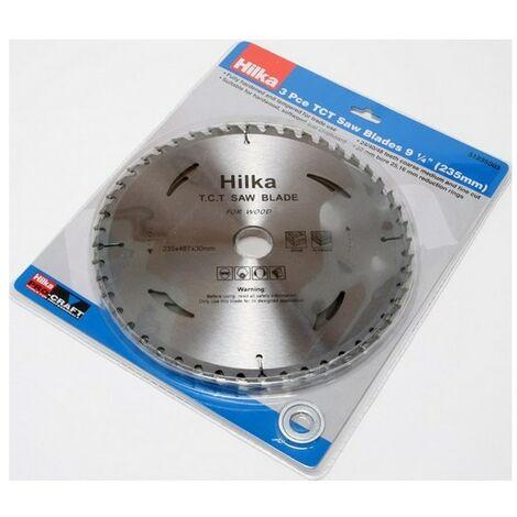 "Hilka 51235003 TCT Circular Saw Blades 9.1/4"" 235mm Pack of 3 Assorted Teeth"