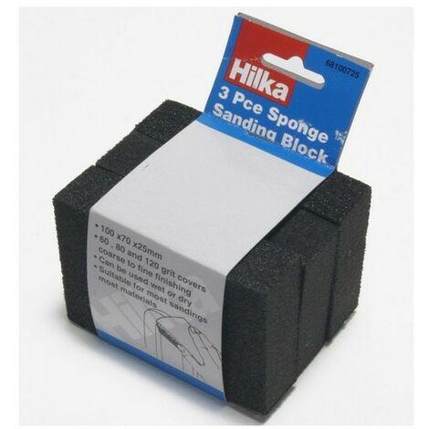 Hilka 68100725 Sponge Sanding Blocks Pack of 3 Assorted