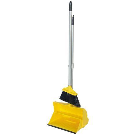 Hill Brush Angle Lobby Broom With Lobby Dustpan (90 x 25cm) (Yellow)