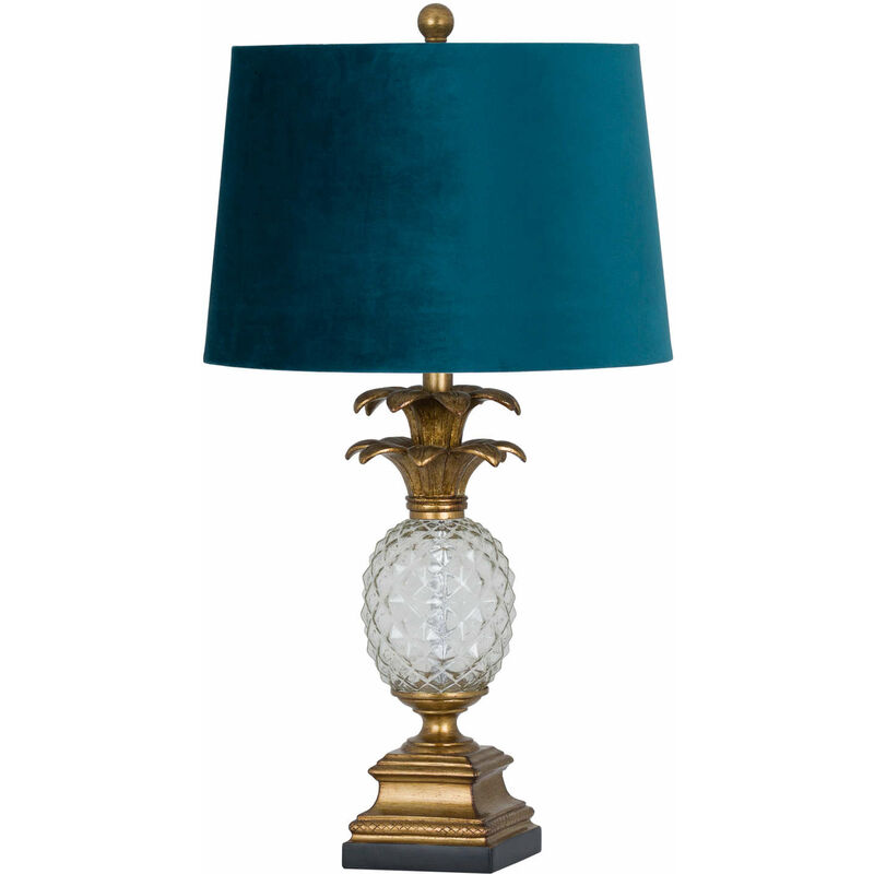Image of Ananas Glass Table Lamp (One Size) (Blue/Gold) - Hill Interiors