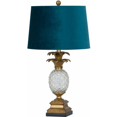 Hill Interiors Ananas Glass Table Lamp (One Size) (Blue/Gold)