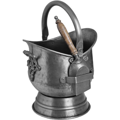 Hill Interiors Antique Steel Coal Bucket With Shovel (One Size) (Silver)