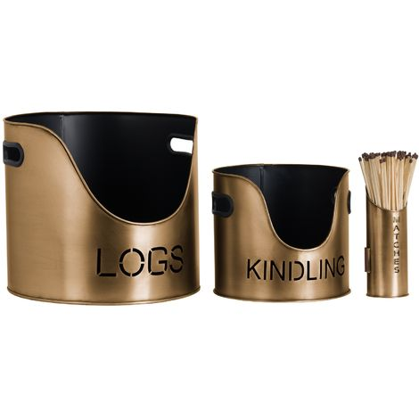 Hill Interiors Antique Style Bronze Matchstick Holder with Logs & Kindling Buckets (One Size) (Bronze)