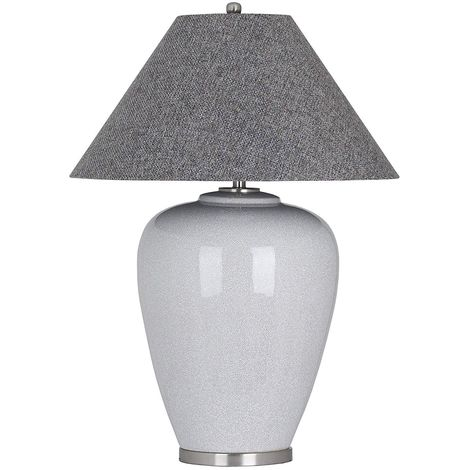 Hill Interiors Augustus Crackle Ceramic Table Lamp (UK Plug) (One Size) (Grey)