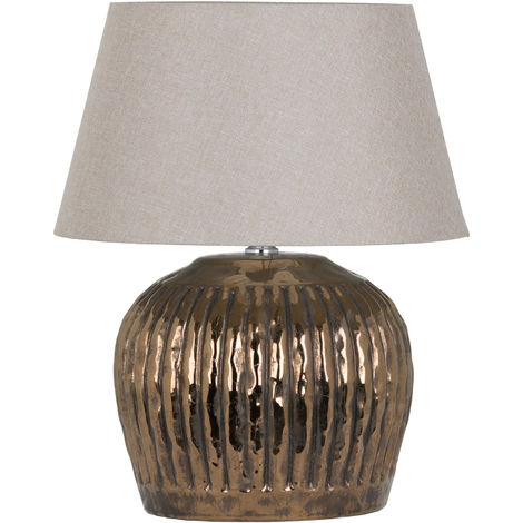 Hill Interiors Basilica Metallic Bronze Ceramic Table Lamp (One Size) (Bronze/White)