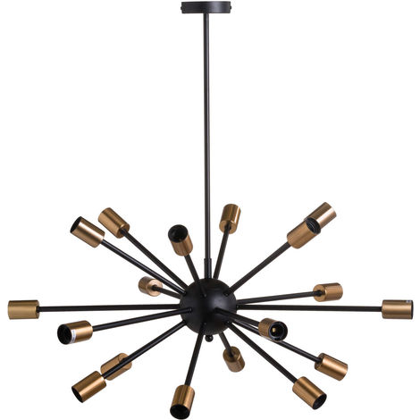 Hill Interiors Black And Brass Burst Light (One Size) (Black/Brass)