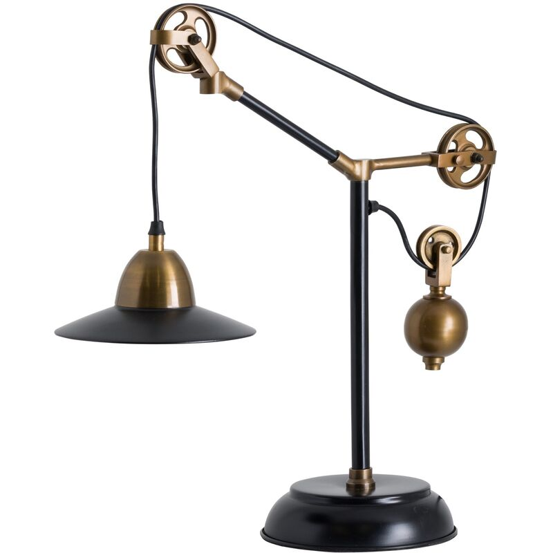 Image of Brooklyn Adjustable Table Lamp (UK Plug) (One Size) (Black) - Hill Interiors