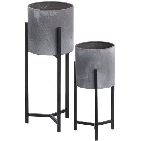 Hill Interiors Ceramic Table-Top Planters (Set of 2) (One Size) (Grey/Black)