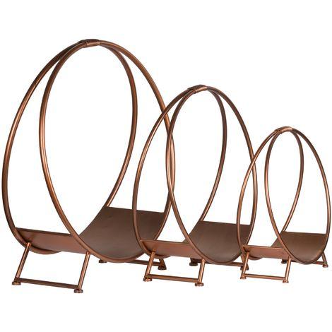 Hill Interiors Copper Effect Round Log Holders (52 x 49.5 x 22.5cm) (Copper)