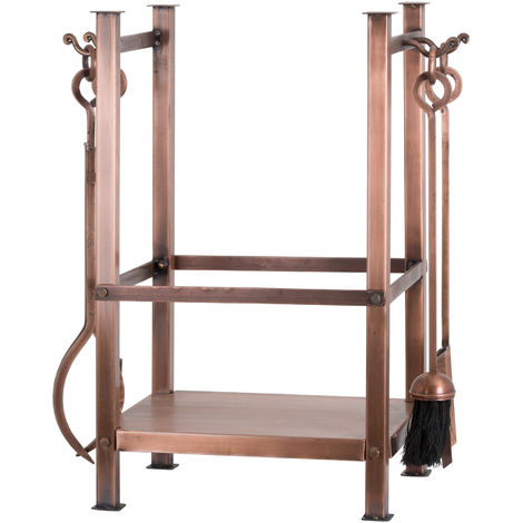 Hill Interiors Copper Finish Square Log Holder With Companion Set (One Size) (Copper)