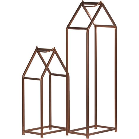 Hill Interiors Copper Finished Tall Log Holders (115 x 40.5 x 24cm) (Copper)
